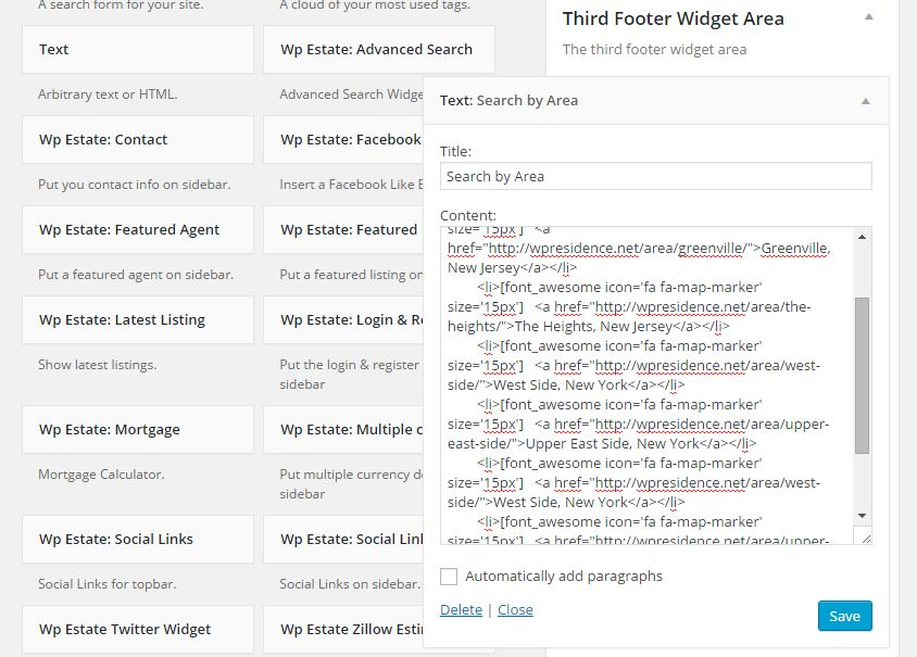 footer widget list