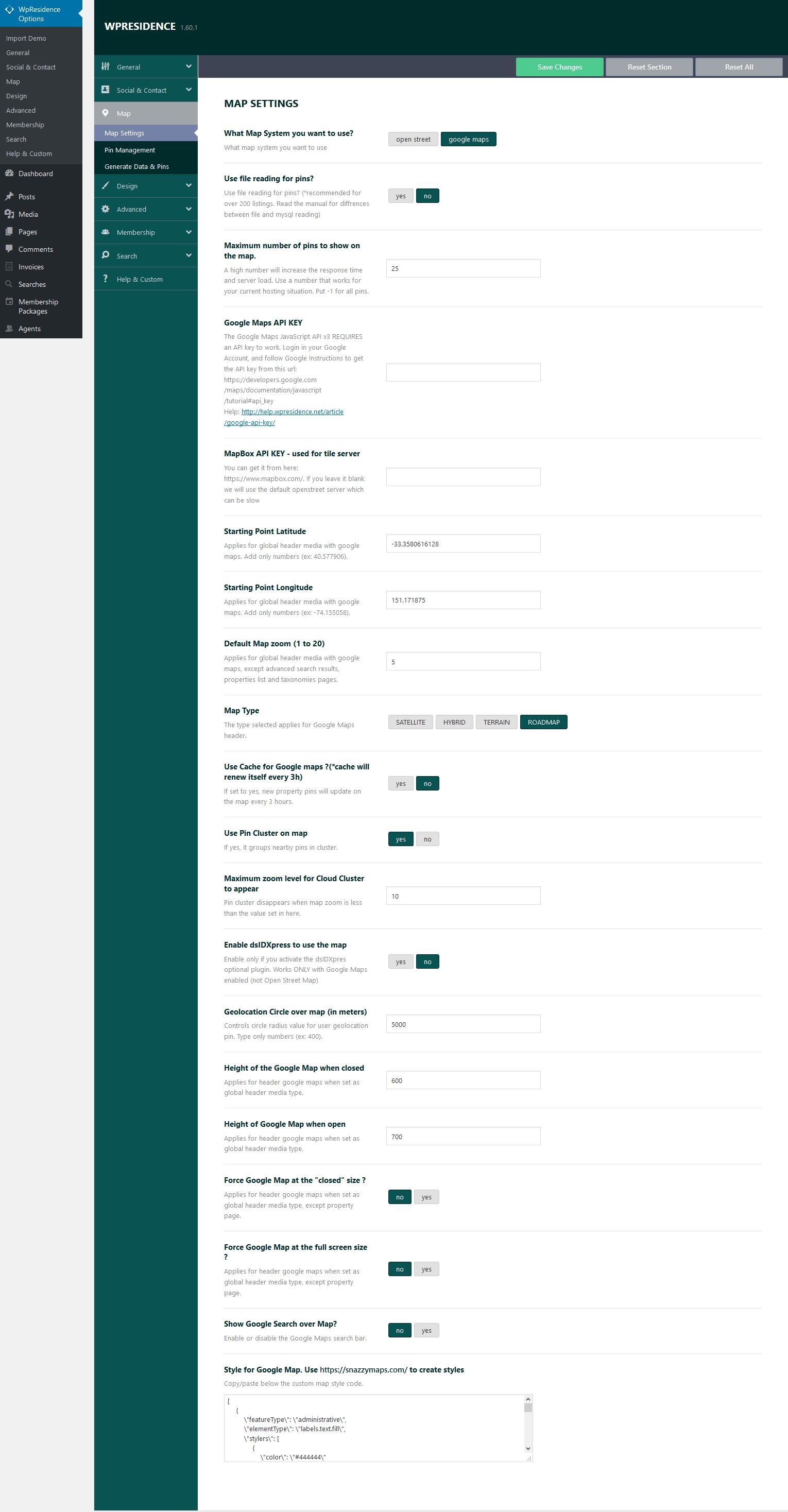 Theme Options – Map Settings - WP Residence Help WP Residence Help