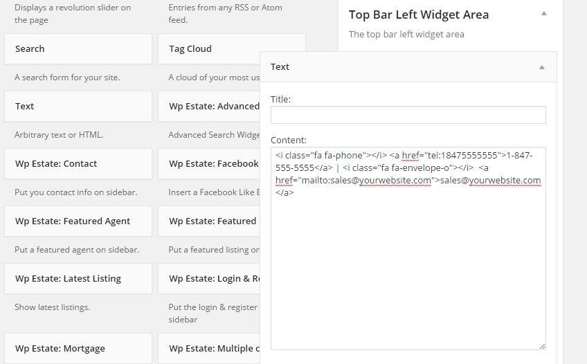 top bar left widget area