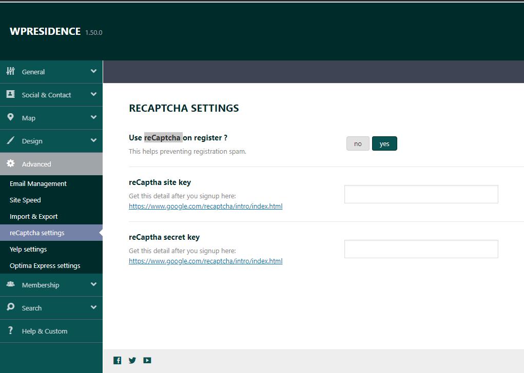 Advanced Theme Options - reCaptcha settings in Theme Options