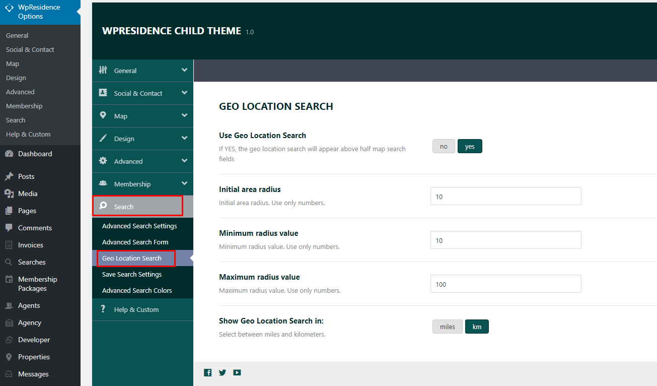 Search Theme Options - Radius Search | Geolocation Search for Half on