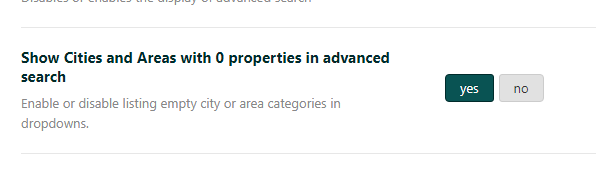 Theme options -> Search -> Advanced Search Settings - WP Residence